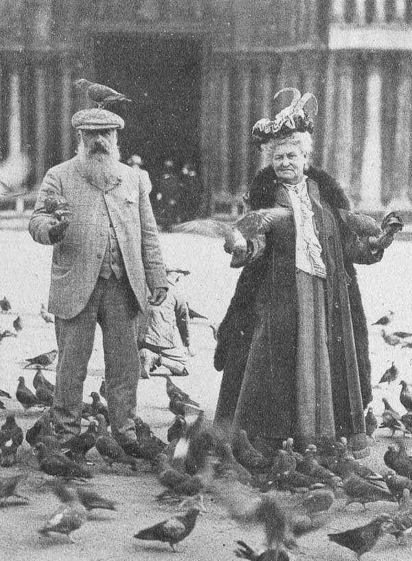 Клод_Моне_Кормит_Голубей_с_Женой_Венеция_1908
